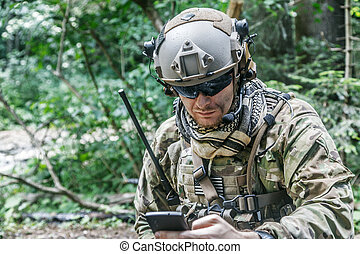 ranger with the cellphone - United states army ranger with...
