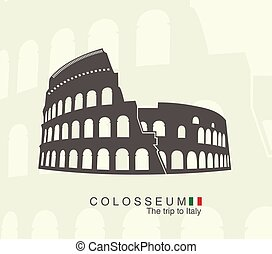 Roman Colosseum isolated - illustration of Roman Colosseum...