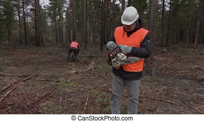 Lumberjack with chainsaw in forest