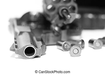 Revolver with bullets close-up isolated on white background...