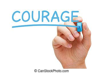 blu, pennarello, coraggio