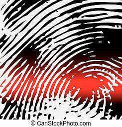 Ray scanner scan fingerprint. Vector illustration close-up