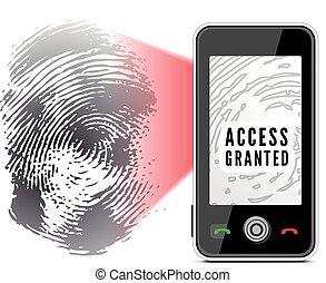 Smartphone scanning a fingerprint. Vector illustration on...