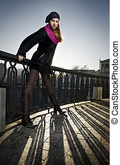 fashion photo of girl on the street