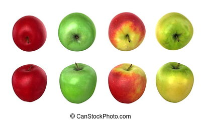 Turning apples, four options. 3d animation with an alpha...