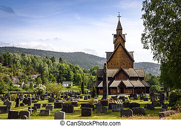 Old, wooden stave church in Norway originated in medieval...