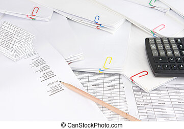 Pencil on earnings statement have blur house and paperwork -...