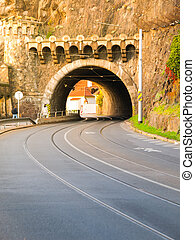 Road tunnel under Vysehrad Hill in Prague - Road tunnel with...
