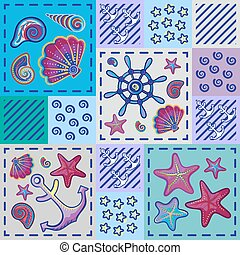 Seamless marine pattern in patchwork style with shells...