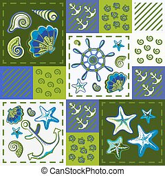 Nautical marine patchwork seamless pattern with shells, starfish, anchor and wheel. Patchwork background with sea life.