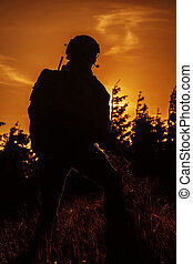 United states army ranger on the sunset