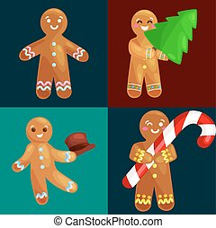 set christmas cookies gingerbread man decorated with icing...