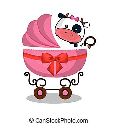 cart baby with cute stuffed animal vector illustration...