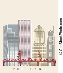 Portland skyline poster in editable vector file