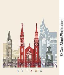 Ottawa skyline poster in editable vector file