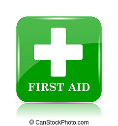 First aid icon. Internet button on white background.