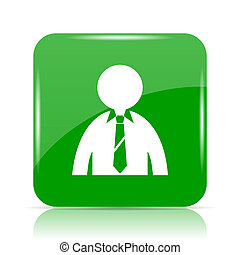 Business man icon. Internet button on white background.
