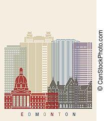 Edmonton skyline poster in editable vector file