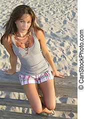 female modle portrait on beach fashon beauty