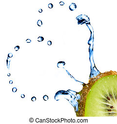 heart from water drops on kiwi isolated on white