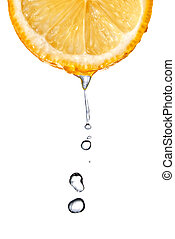 Fresh orange slice with water drops isolated on white