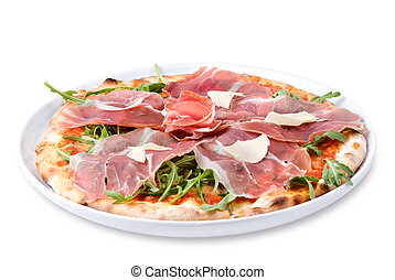 italian pizza with ham and cheese isolated on white