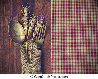 Fork and spoon with the ears of wheat - Vintage toned...