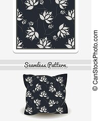 Pillow White Flowers On Dark - Hand drawn pillow with...