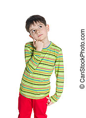 Little boy in a green striped shirt - A cute little boy in a...