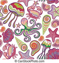 Colorful seamless pattern with fish starfish shells crab octopus. Sea life vector illustration.
