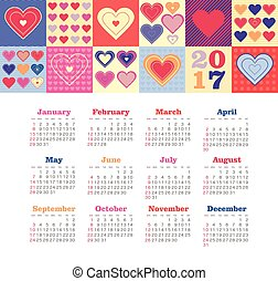 Calendar 2017 with heart. Week Starts Sunday
