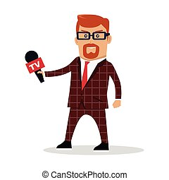 Media Worker Character Vector Illustration - Media worker...