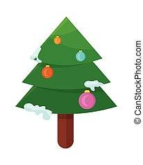 Christmas Tree Isolated on White. Cartoon Fir