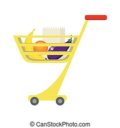 Shopping Trolley with Food Products. - Shopping trolley with...