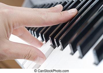 mano, juego, Música, piano
