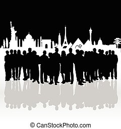 people silhouette front of famous monument illustration