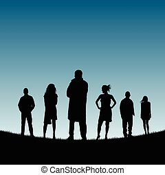 people silhouette in nature color illustration