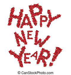 Happy new year greeting from red christmas flowers isolated...