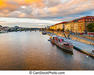 Rasin Embankment at Vltava River in Prague - Evening view of...