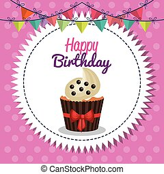 happy birthday celebration card vector illustration design