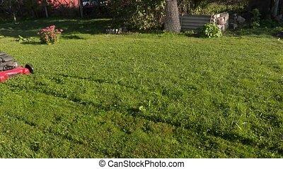 Worker pushing lawnmower in garden