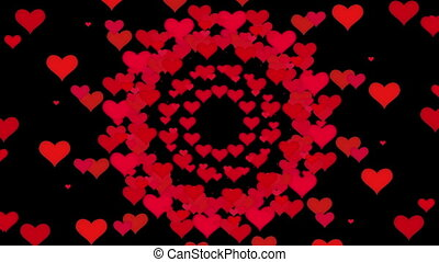Flying hearts in various colors on black