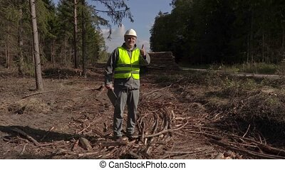 Happy lumberjack show thumb up