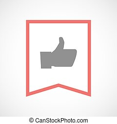 Isolated line art ribbon icon with a thumb up hand