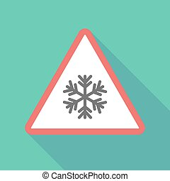 Long shadow triangular warning sign icon with a snow flake