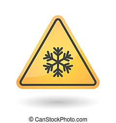 Isolated danger signal icon with a snow flake