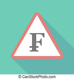 Long shadow triangular warning sign icon with a swiss franc...