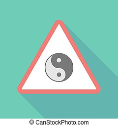 Long shadow triangular warning sign icon with a ying yang