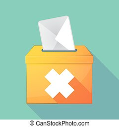 Long shadow coloured ballot box icon with an irritating...
