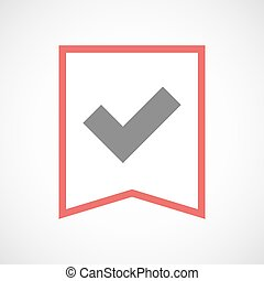 Isolated line art ribbon icon with a check mark -...